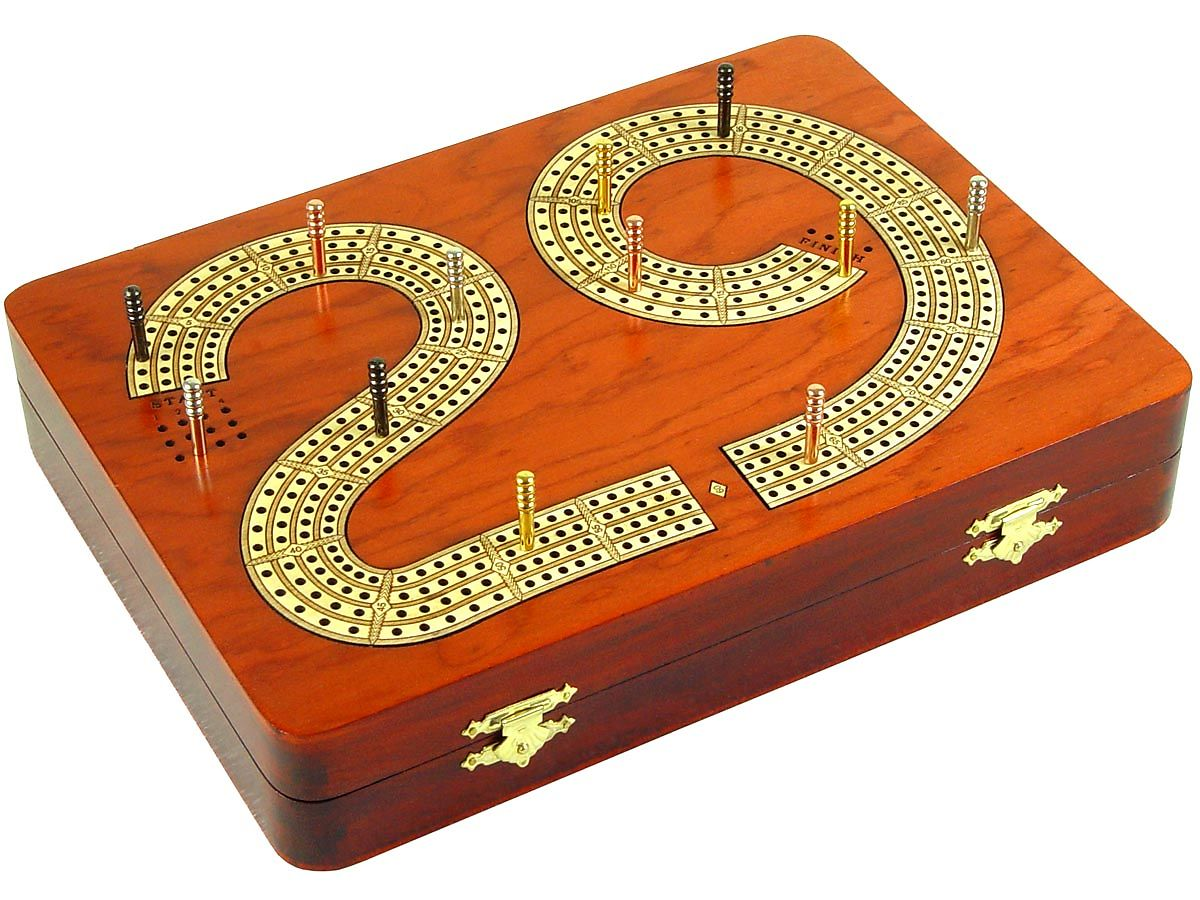 Side view of 29 cribbage board box with metal pegs