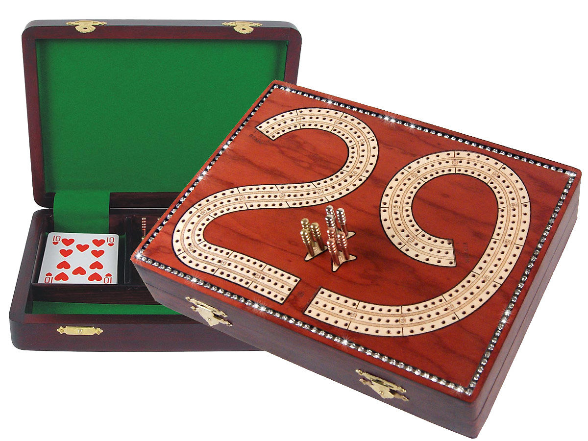 "Diamond alike Crystal Studded 29 Cribbage Board / Box :: Maple Inlaid on Bloodwood :: 9"" x 7"" :: 3 Tracks"