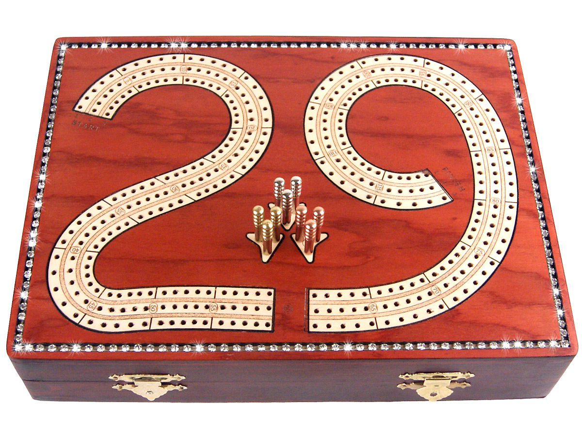 Front view of diamond alike crystal studded cribbage board with box