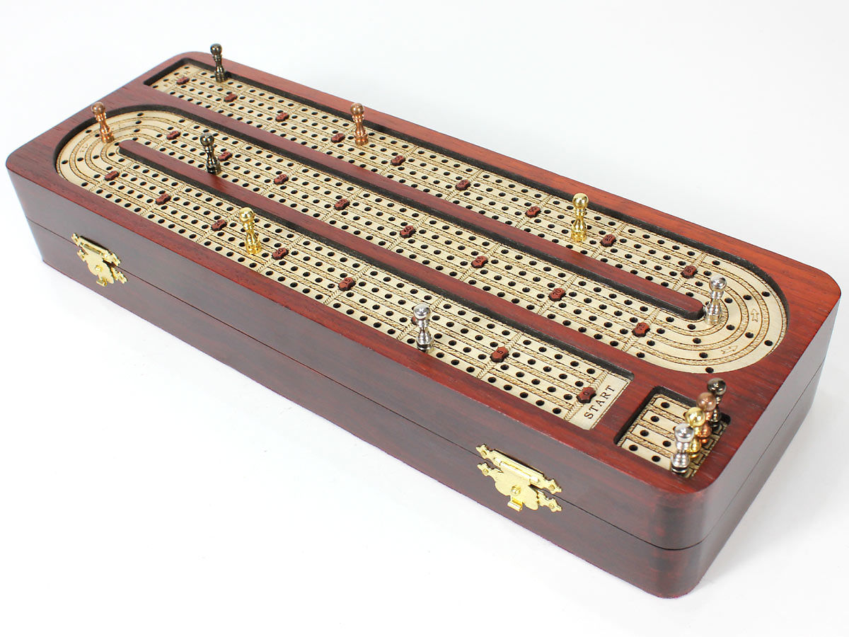 Front view of cribbage board inlaid with white maple on bloodwood box