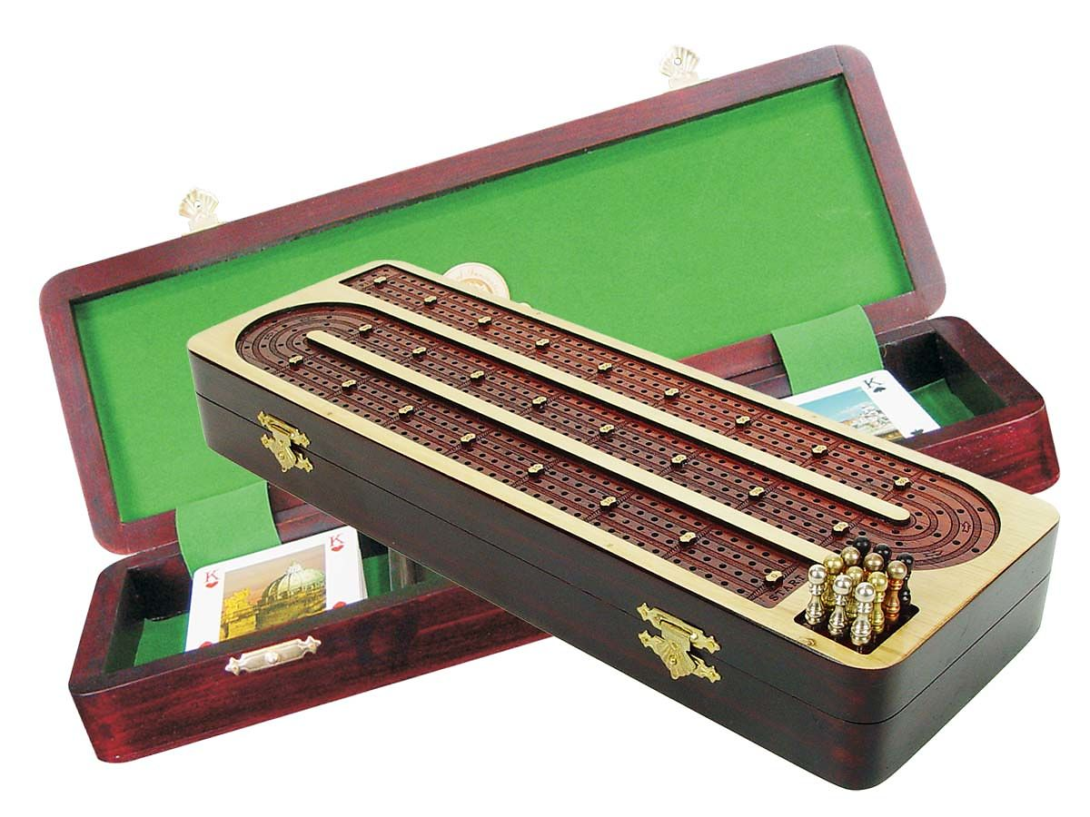 Wooden Cribbage Board / Box Inlaid in White Maple / Bloodwood - 4 Tracks Continuous