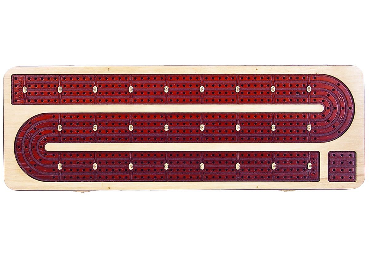 4 Tracks Continuous Wooden Cribbage Board inlaid in White Maple / Bloodwood