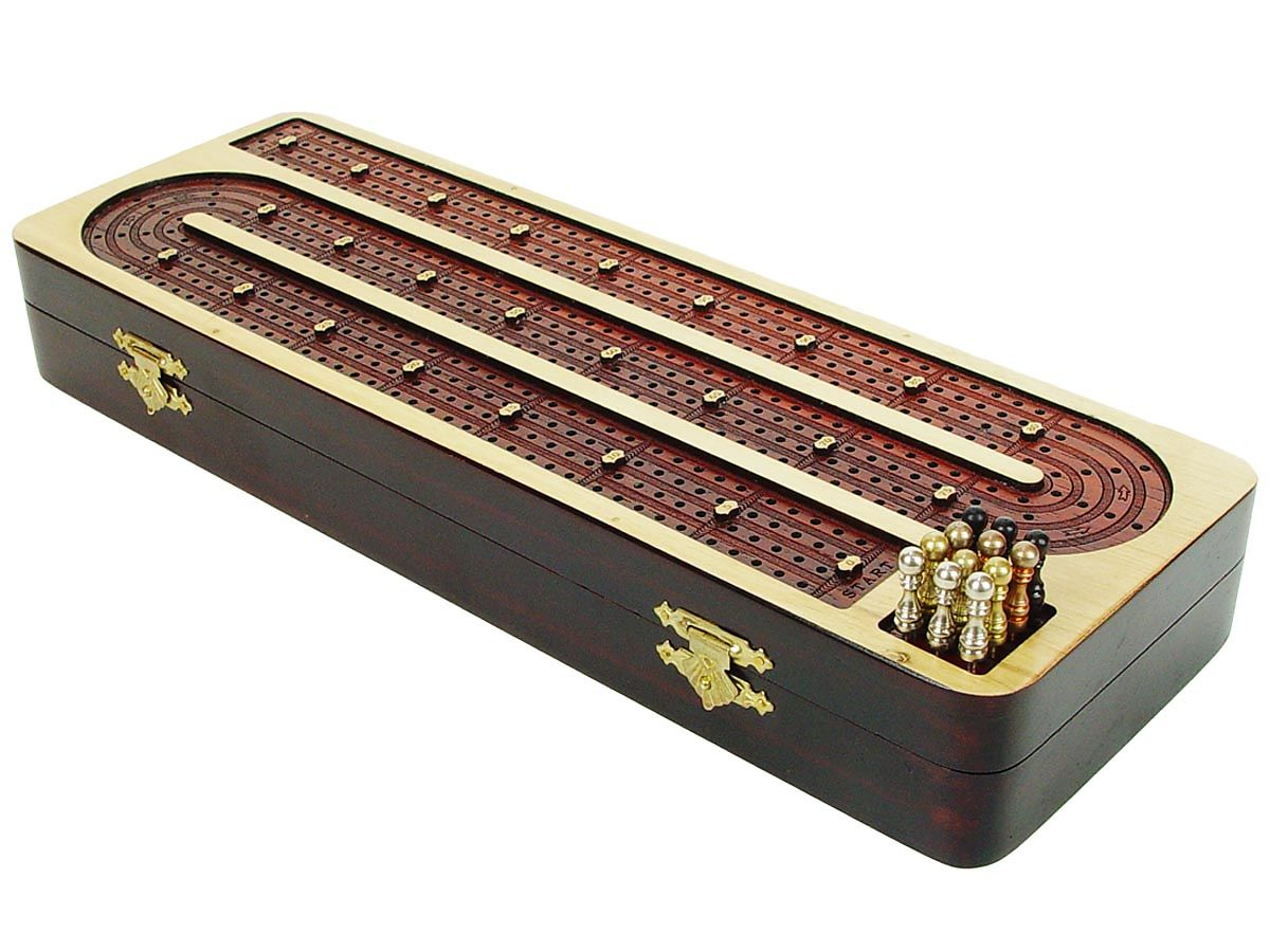 Unique Wooden Continuous Cribbage Board 4 tracks
