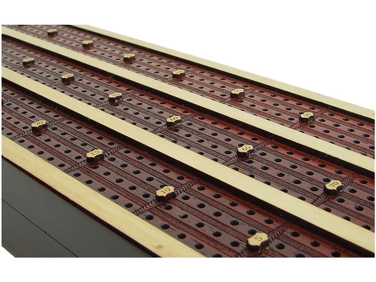 Bloodwood 4 tracks inlaid in White Maple continuous cribbage board