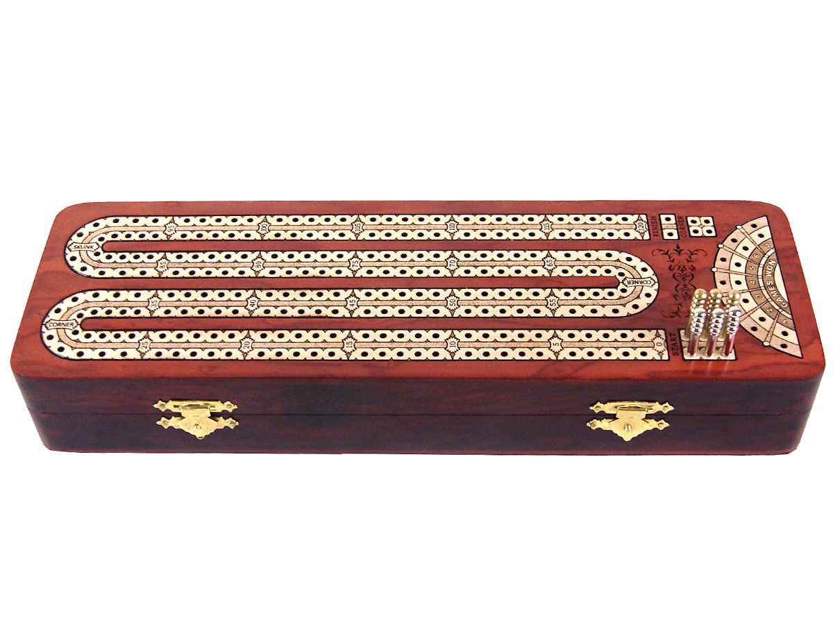 Front view of bloodwood cribbage board/box