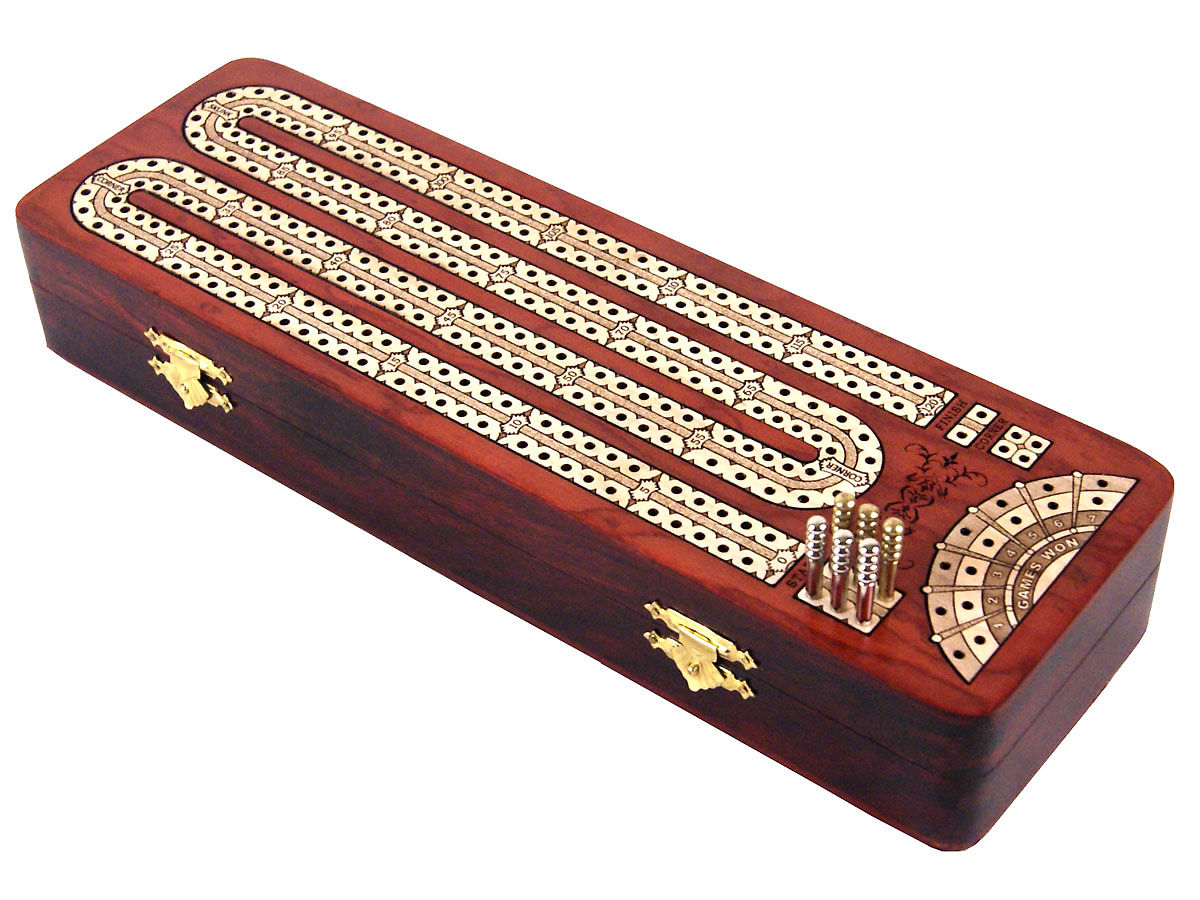 Popular design continuous cribbage board/box with 6 metal pegs