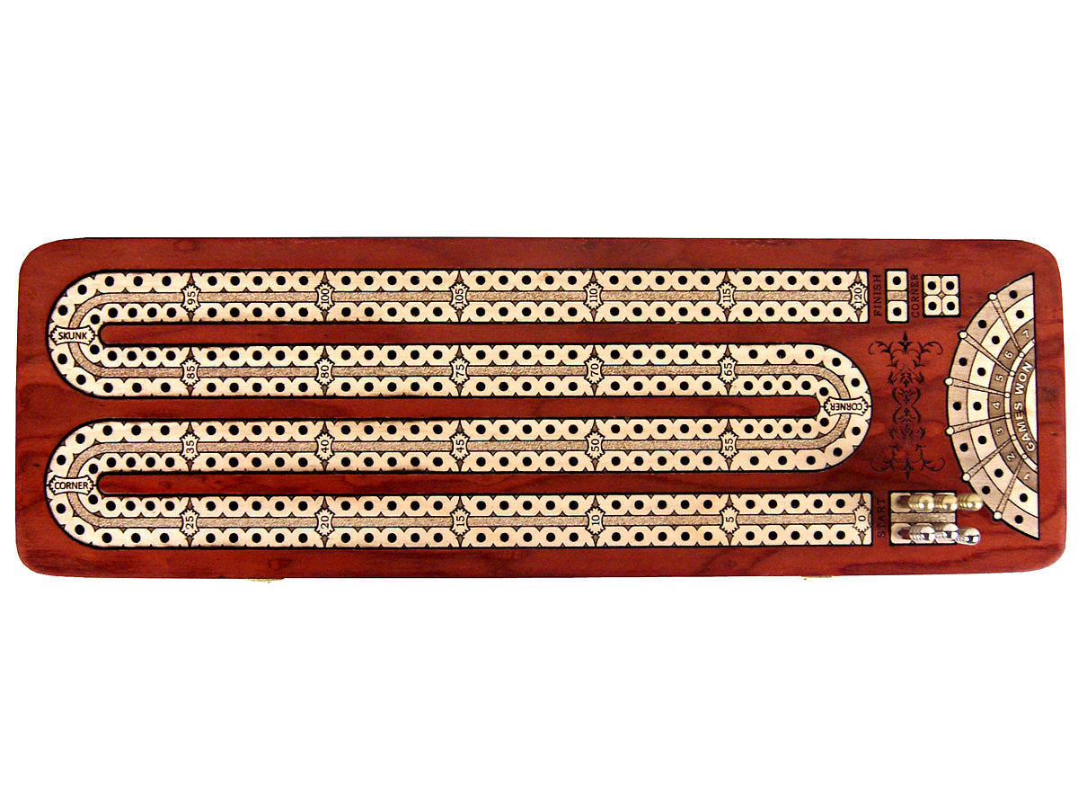 Top view of 120 points continuous cribbage board