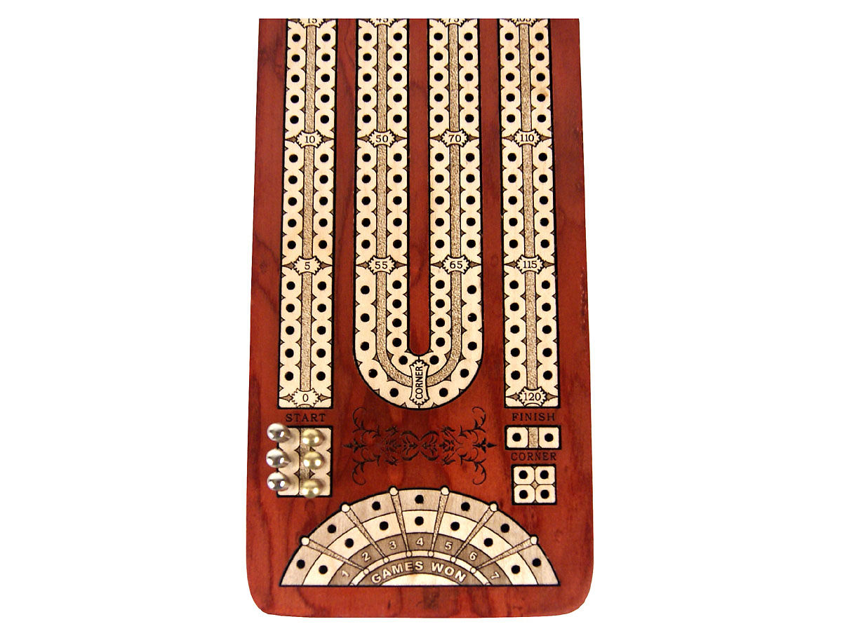 Close up view of cribbage board with place to mark won games