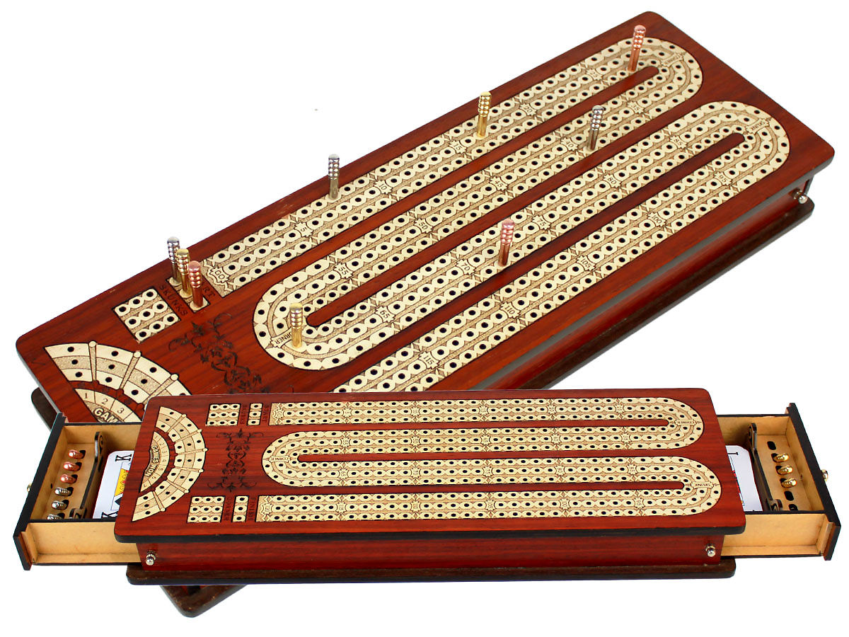 Continuous Cribbage Board inlaid with Bloodwood / Maple : 3 Tracks with place to mark won games