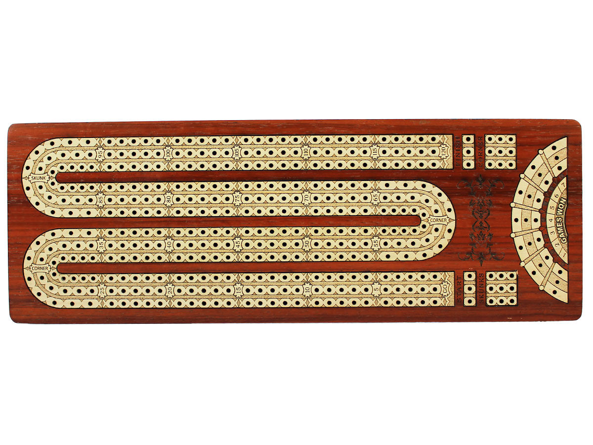 Top view of Inlaid Maple 3 Tracks on Cribbage Board