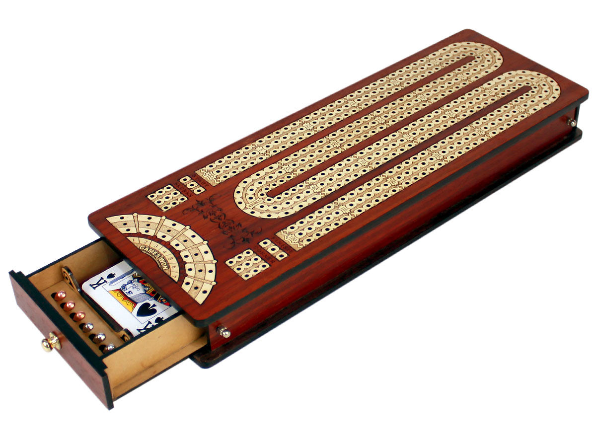 Cribbage Board with Open Drawe and Cards, Pegs in its place