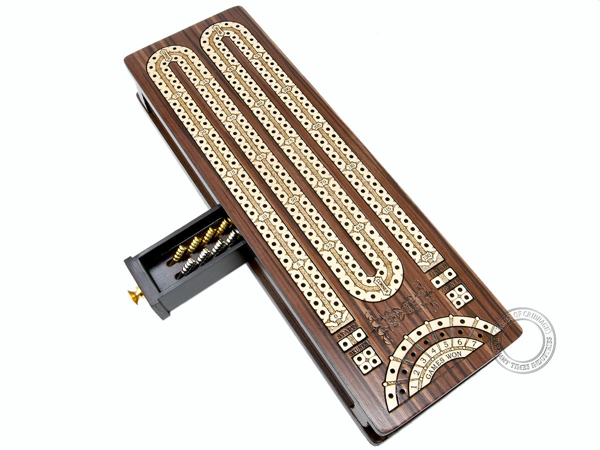 Continuous Cribbage Board inlaid Rosewood / Maple - 2 Track - Sliding Lid