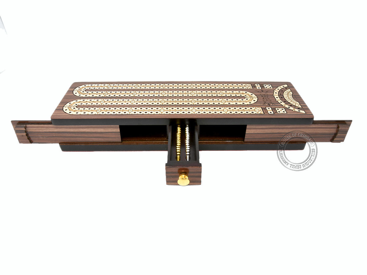 Front view of cribbage board with opened drawer and sliding lids
