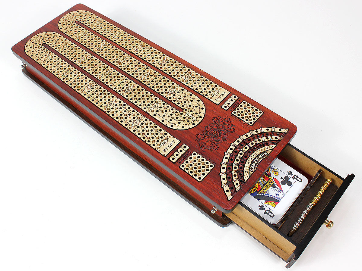 Cribbage Board with 2 Side Drawers for Cards and Pegs