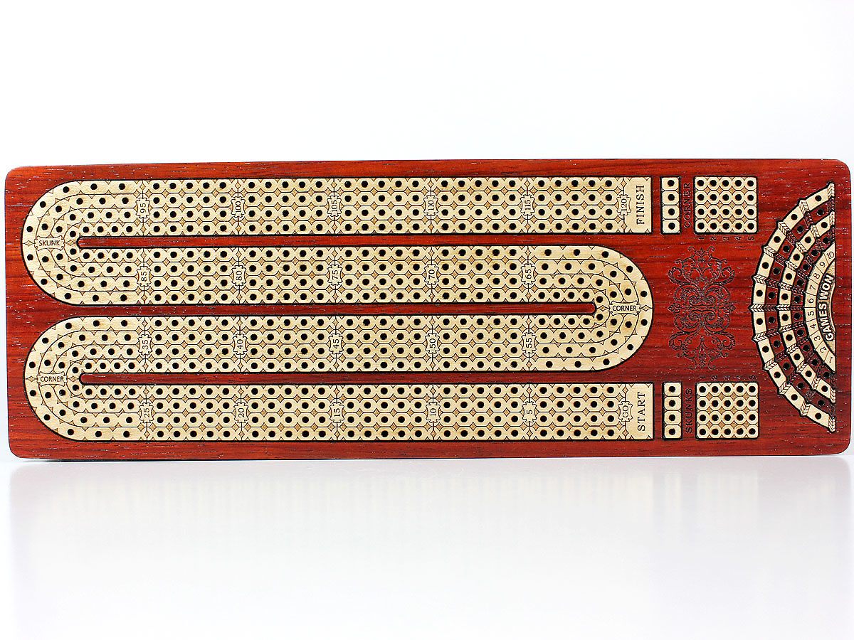 Top view of Inlaid Maple 4 Tracks on Cribbage Board