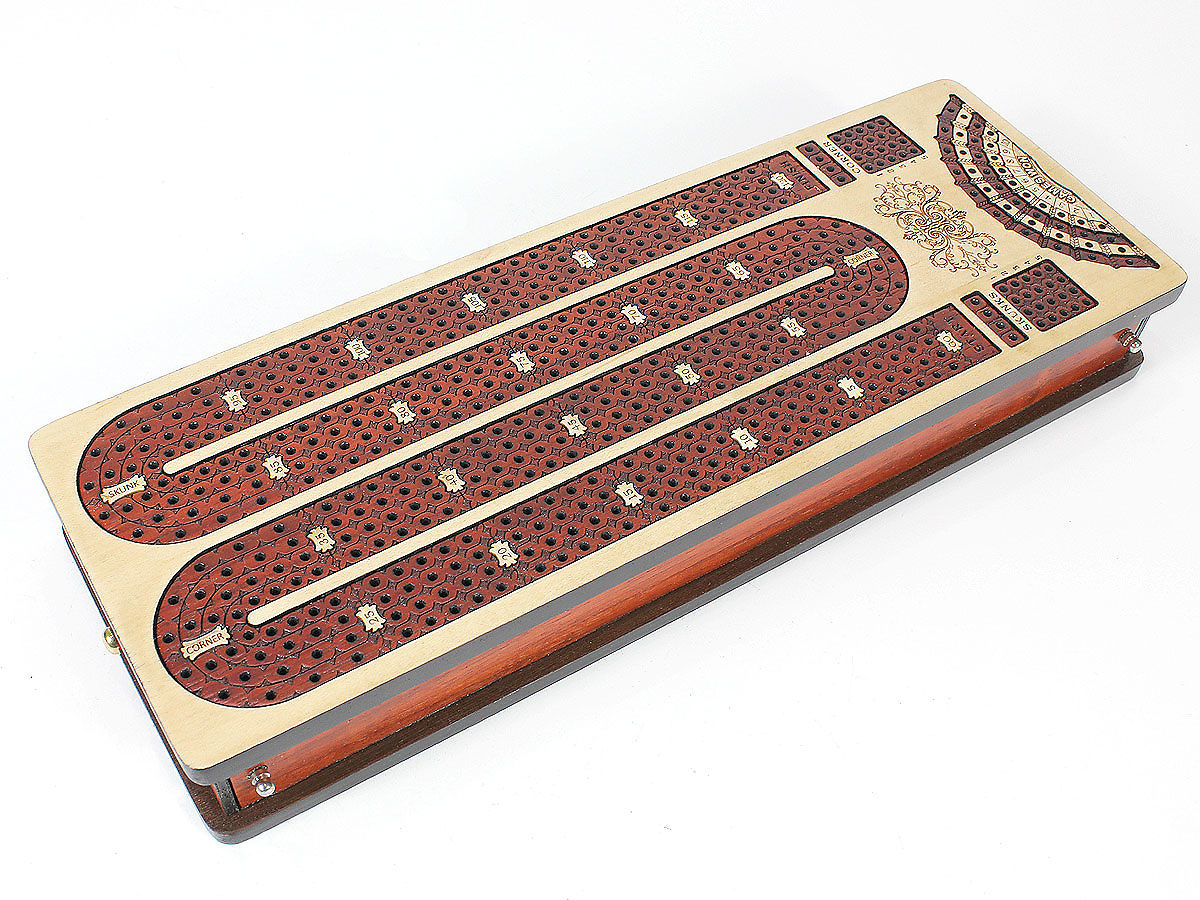 Side view of cribbage board and drawers closed