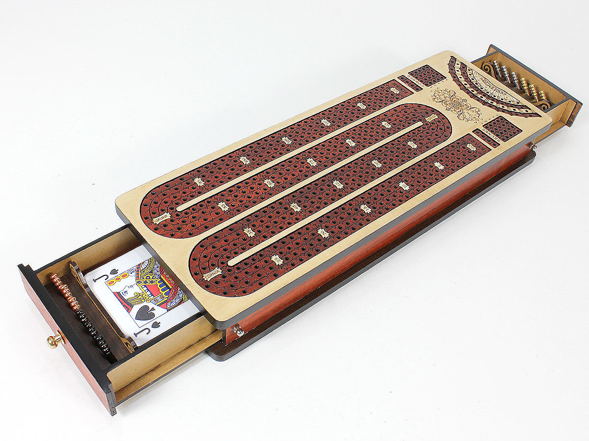 2 sided open drawer - continuous cribbage board inlaid 3 tracks