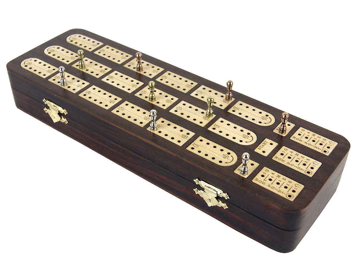 Side view of unique rosewood/maple cribbage board with pegs