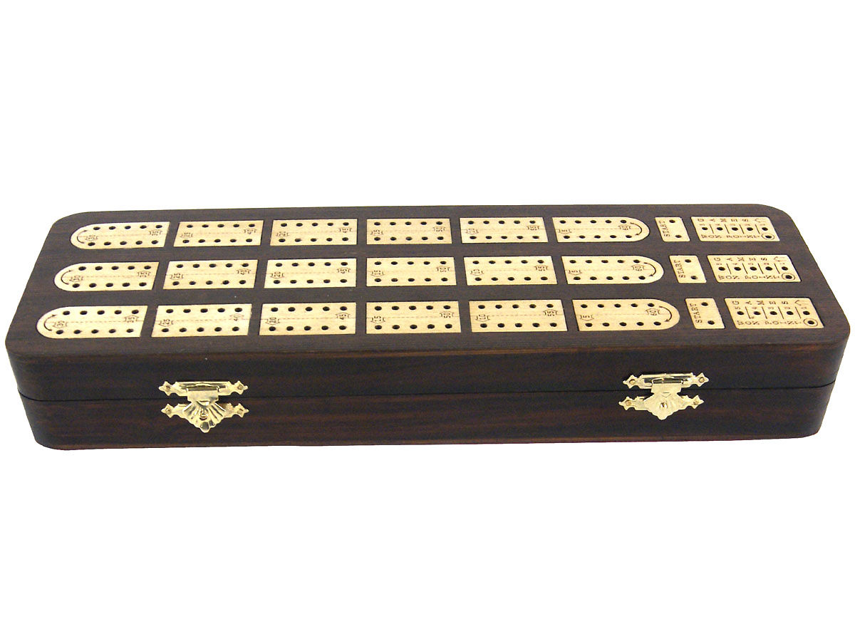 Front view of rosewood cribbage board/box