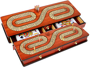 Continuous Cribbage Board inlaid with Bloodwood / Maple : Alphabet S Shape Inlaid 3 Tracks with Drawer Storage