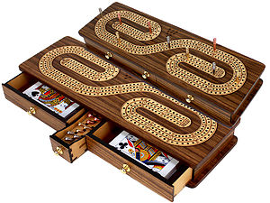 Continuous Cribbage Board inlaid with Teak Wood / Maple : Alphabet S Shape Inlaid 3 Tracks with Drawer Storage