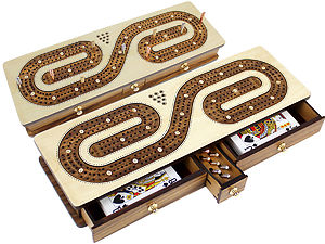 Continuous Cribbage Board inlaid with Maple / Teak Wood : Alphabet S Shape Inlaid 3 Tracks with Drawer Storage