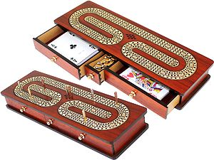 Continuous Cribbage Board Bloodwood : Alphabet C Shape Inlaid Maple 3 Tracks with Drawer Storage