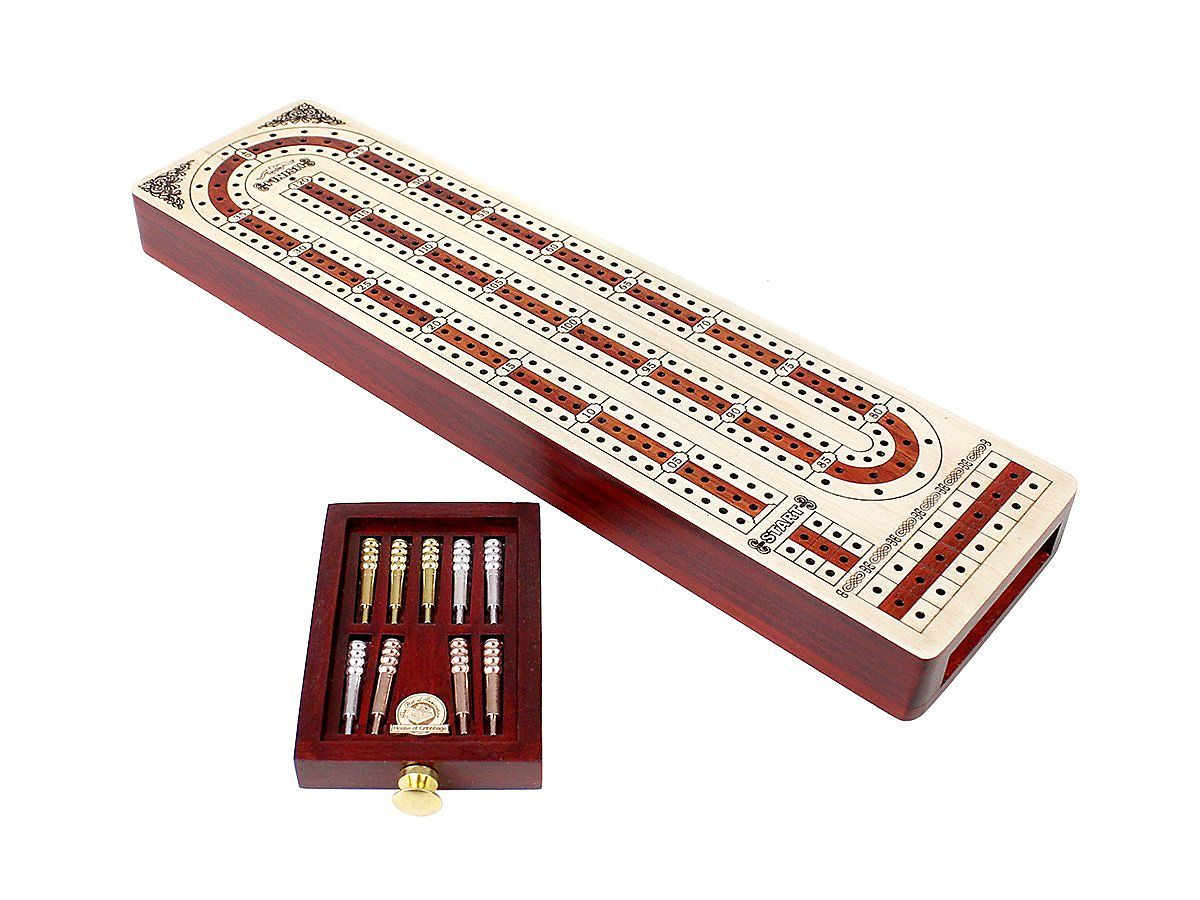 3 Tracks Continuous Cribbage Board Alphabet e Shape inlaid in Maple and Bloodwood with storage drawer