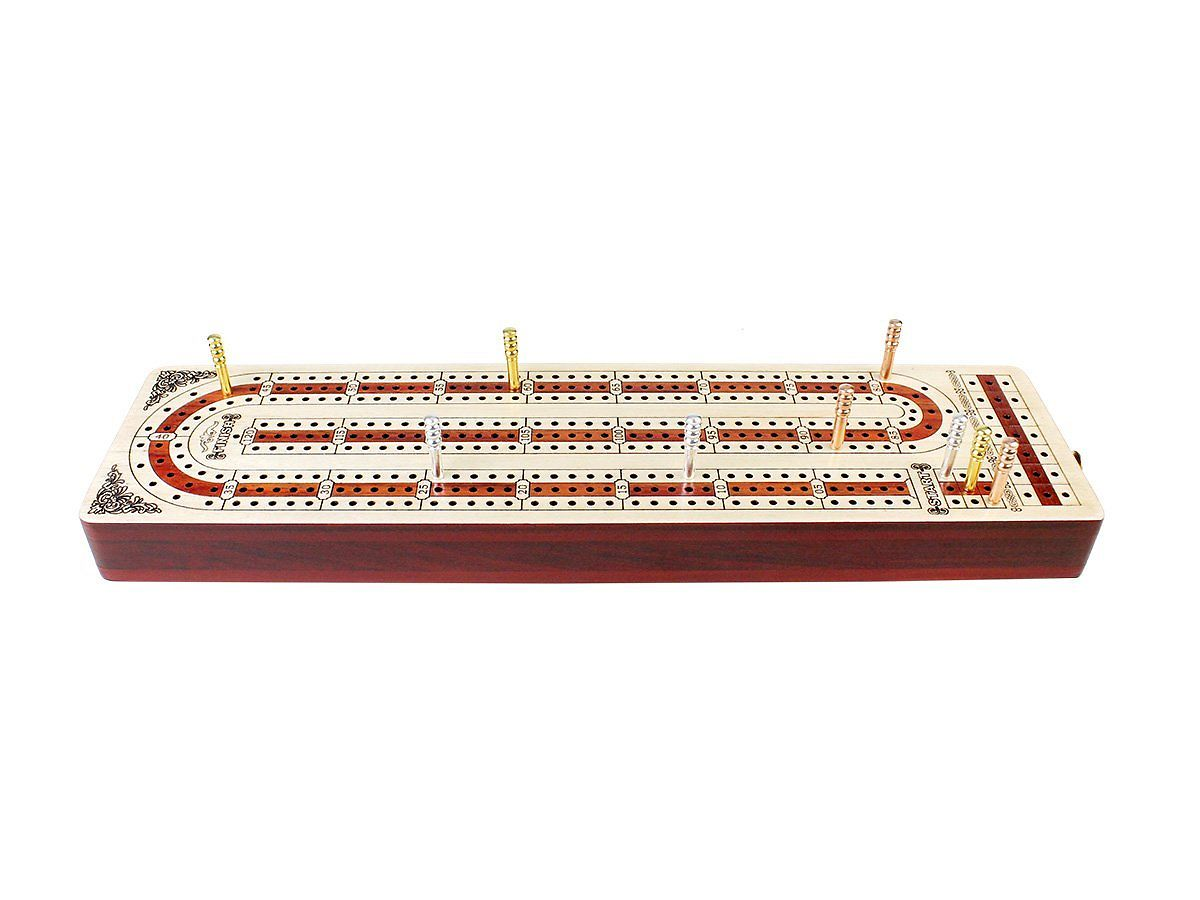 Front view of cribbage board with metal pegs