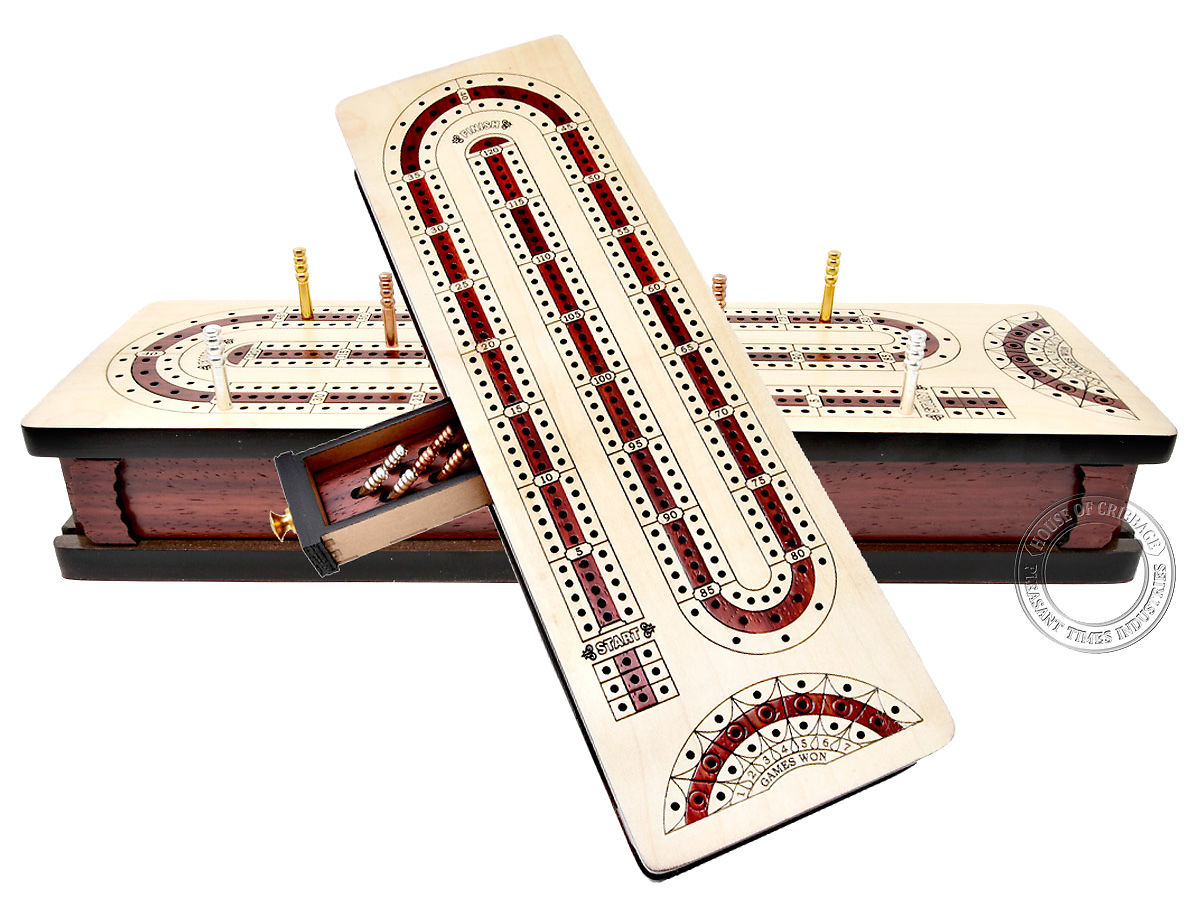 Continuous Cribbage Board Alphabet e Shape inlaid in Maple Wood / Bloodwood