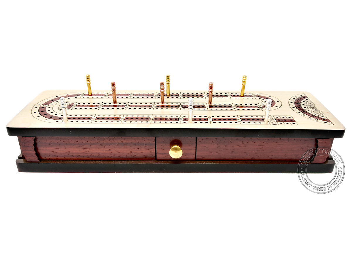 Front view of cribbage board - Drawer and lids closed