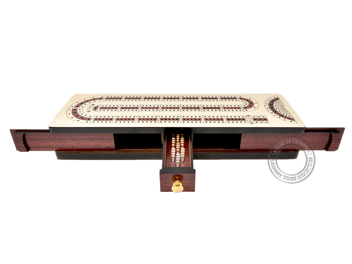Front view of cribbage board - Drawer and lids opened