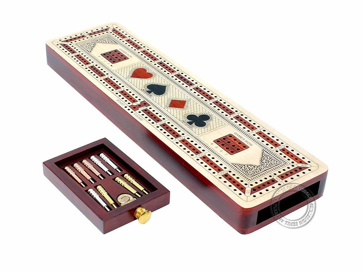 3 Track Continuous Cribbage Board inlaid in Maple and Bloodwood - Size: 12.5