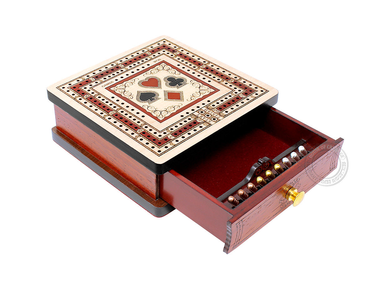 Playing Cards Symbol Inlaid Regular Design 3 Track Square Cribbage Board with Drawer in Maple / Bloodwood