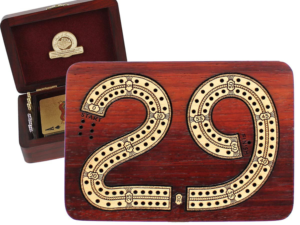 29 digits shape cribbage board inlaid 2 tracks bloodwood / maple 60 points