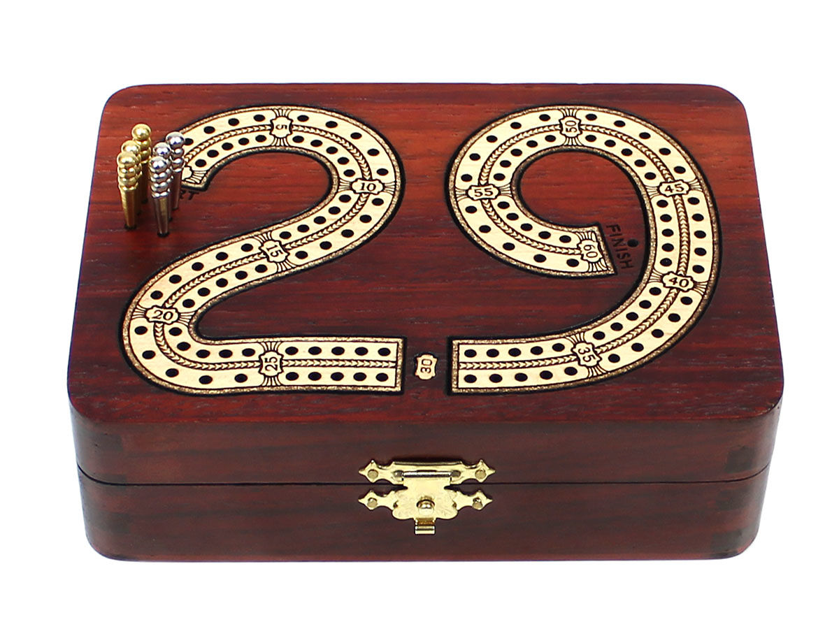 Front view of 29 digits shape 2 tracks cribbage board - closed box