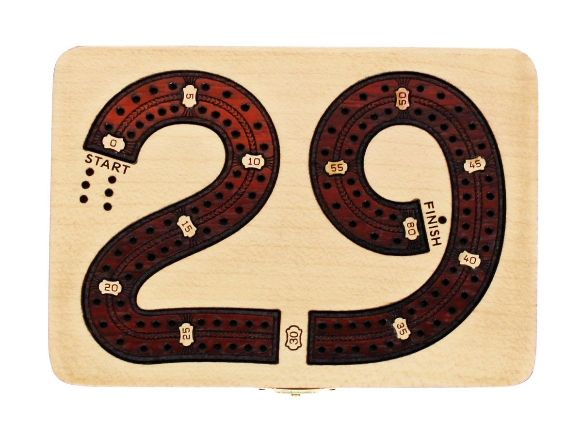Top view of 29 digits shape 2 tracks cribbage board with bloodwood inlaid