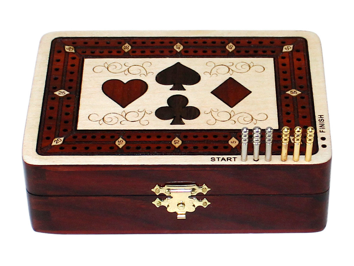 Front view of  2 tracks cribbage board - closed box