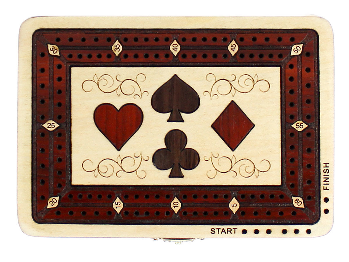 Top view of four playing cards symbols shape 2 tracks cribbage board with bloodwood inlaid