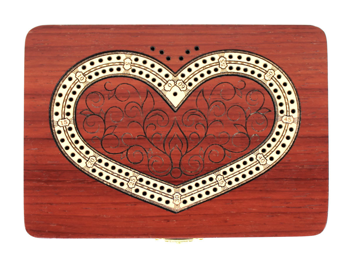 Top view of heart shape 2 tracks cribbage board with maple inlaid