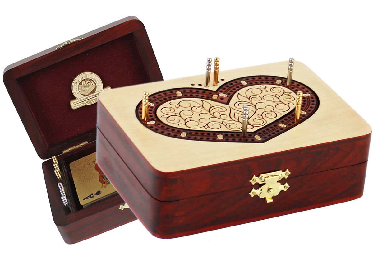 Heart shape cribbage board inlaid 2 tracks maple / bloodwood 60 points