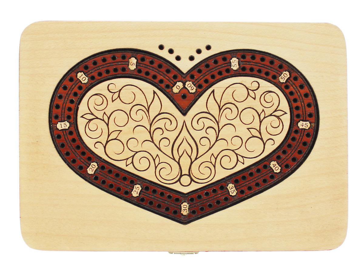 Top view of heart shape 2 tracks cribbage board with bloodwood inlaid
