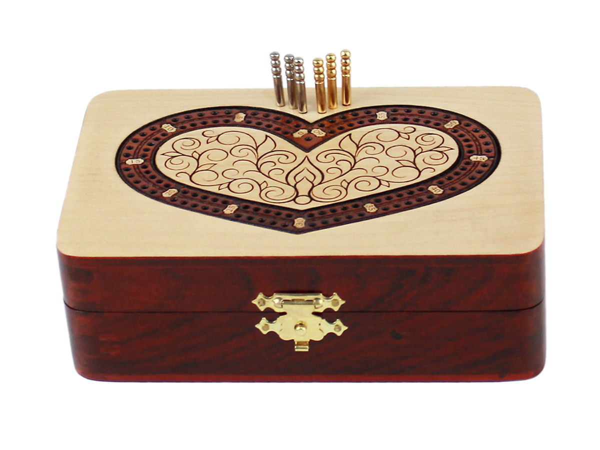 Front view of heart shape 2 tracks cribbage board - closed box