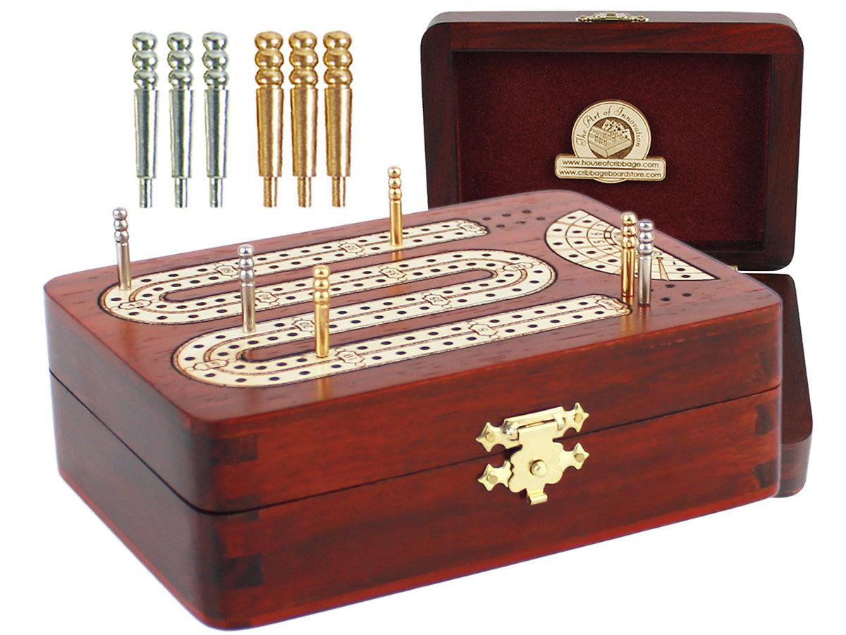 Folding Cribbage Board Bloodwood / Maple 2 Tracks with place to mark won games