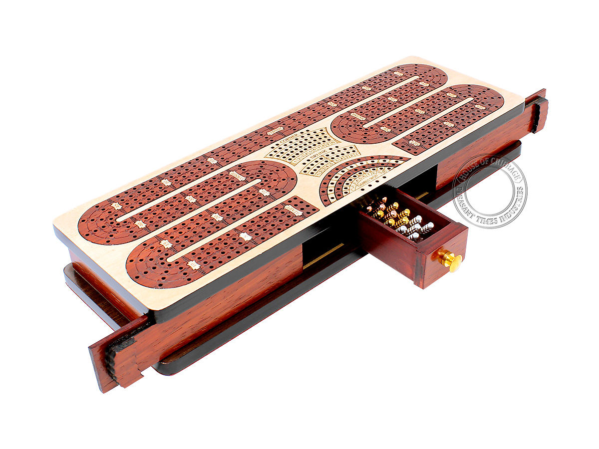 Continuous Cribbage Board Twist Design 4 Tracks - Sliding Lid and Drawer with Skunks, Corners and Score Marking Fields - Maple / Bloodwood