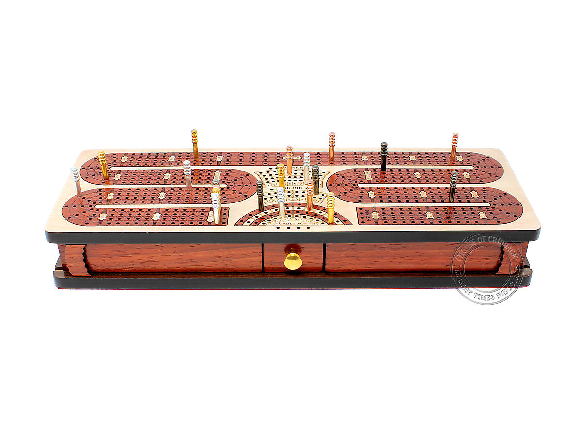 Twist Design Cribbage Board with Metal Pegs