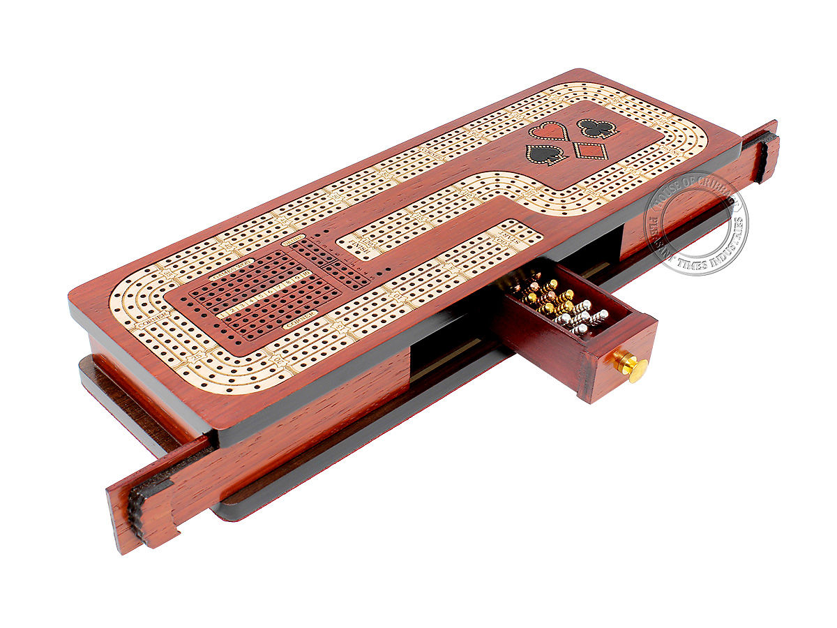 Continuous Cribbage Board Hook Design 4 Tracks - Sliding Lid and Drawer with Skunks, Corners and Score Marking Fields - Bloodwood / Maple