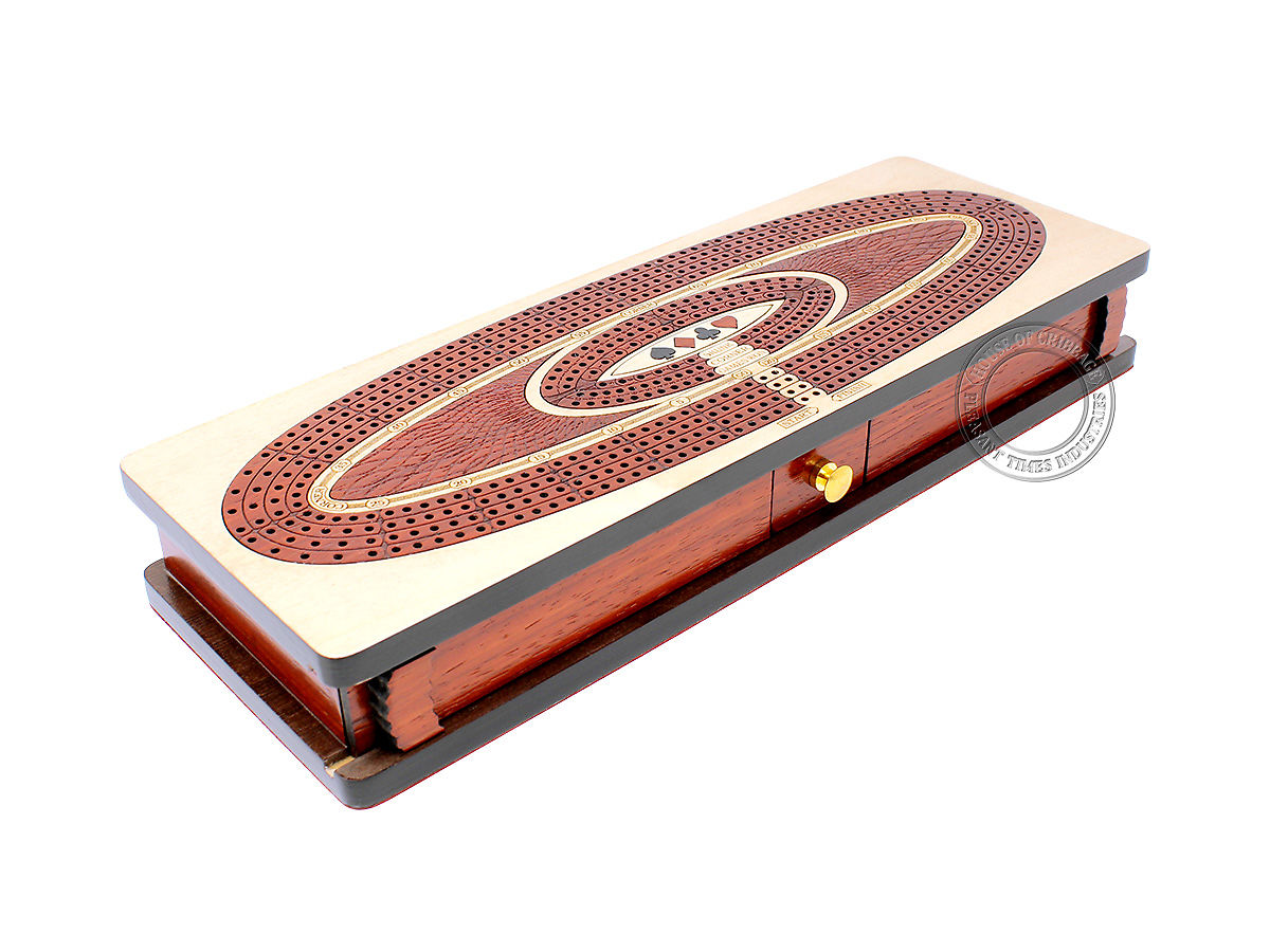 Oval Shape Continuous 4 Tracks Wooden Cribbage Board