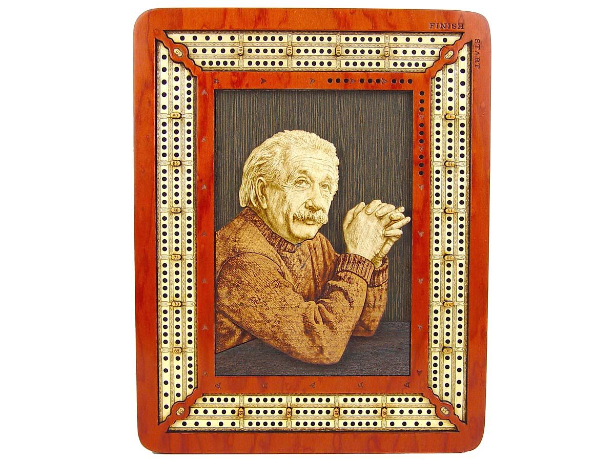 Einstein 3D Image Wooden Carved inlaid on Cribbage Board