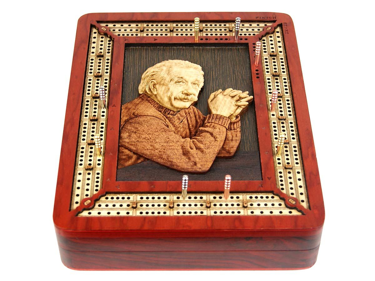 3 Track continuous cribbage board with Einstein 3D image inlaid